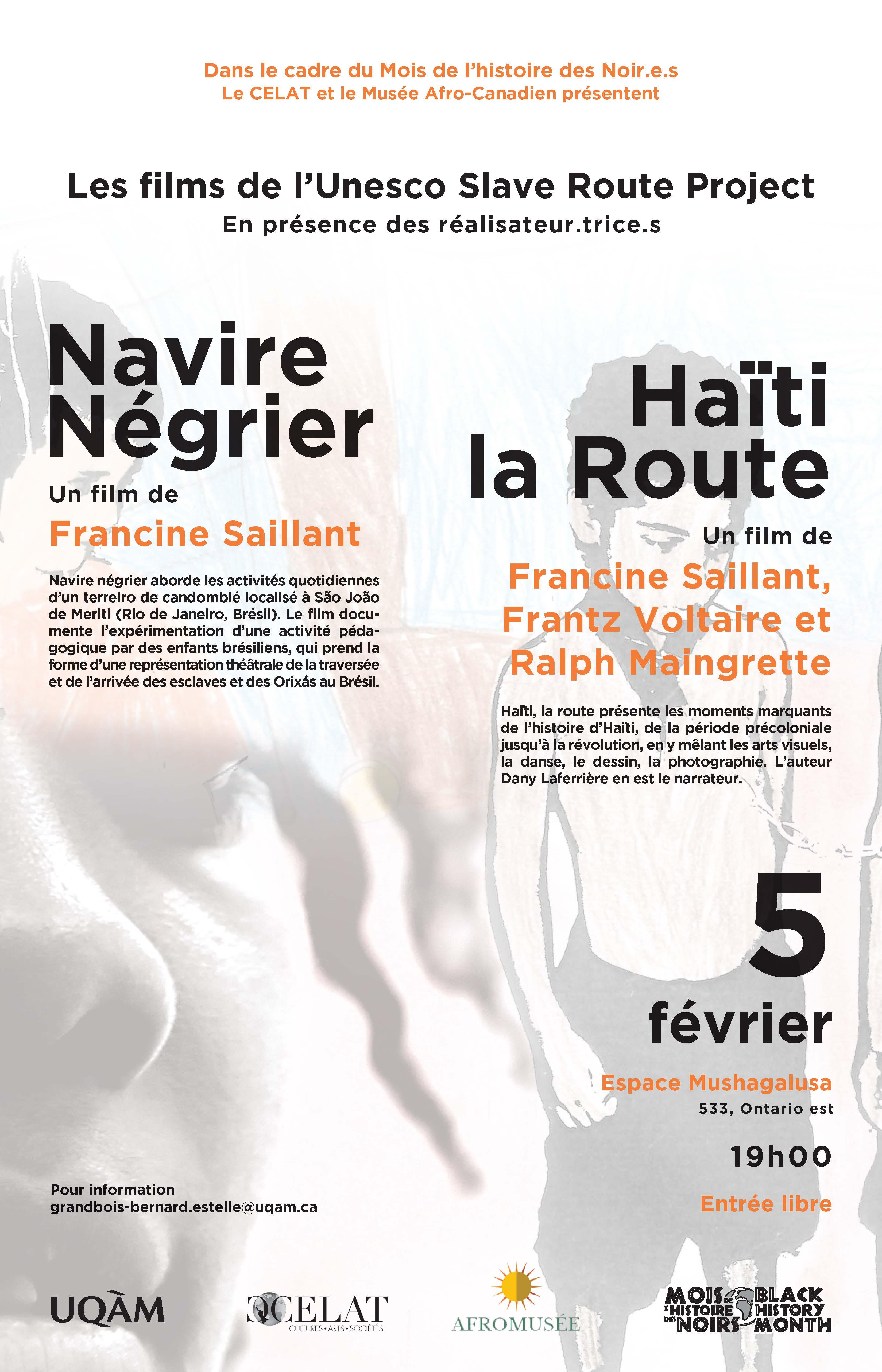 Soirée de projection des films de l'Unesco Slave Route Project - en présence des réalisateur.trice.s