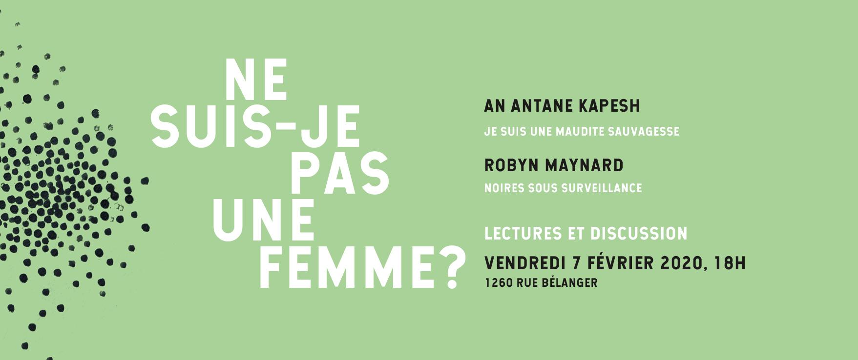 Lancement  Ne suis-je pas une femme? : Lire Maynard x Kapesh